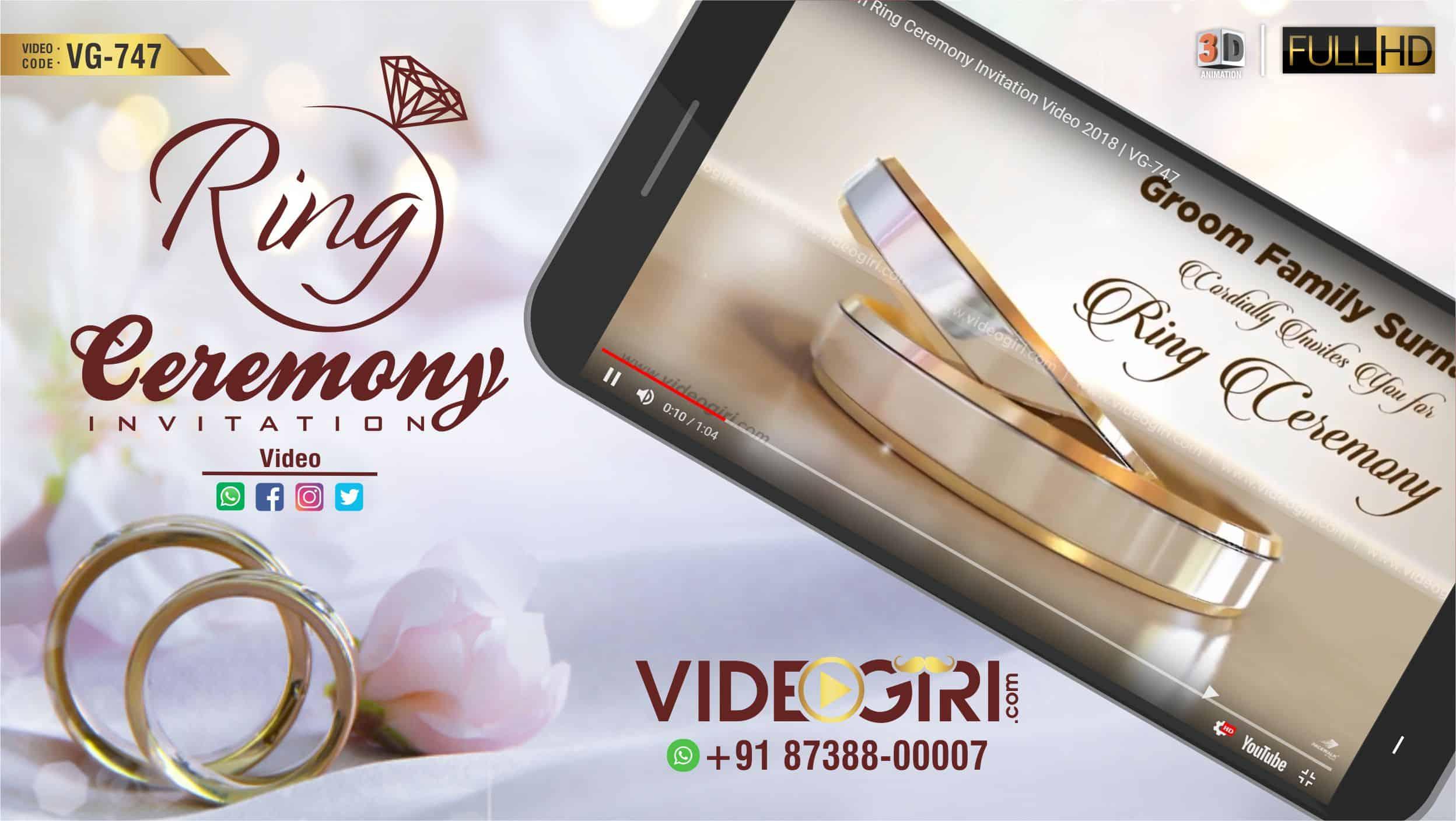 Custom Ring Ceremony Invitation Video Vg 747 Ring