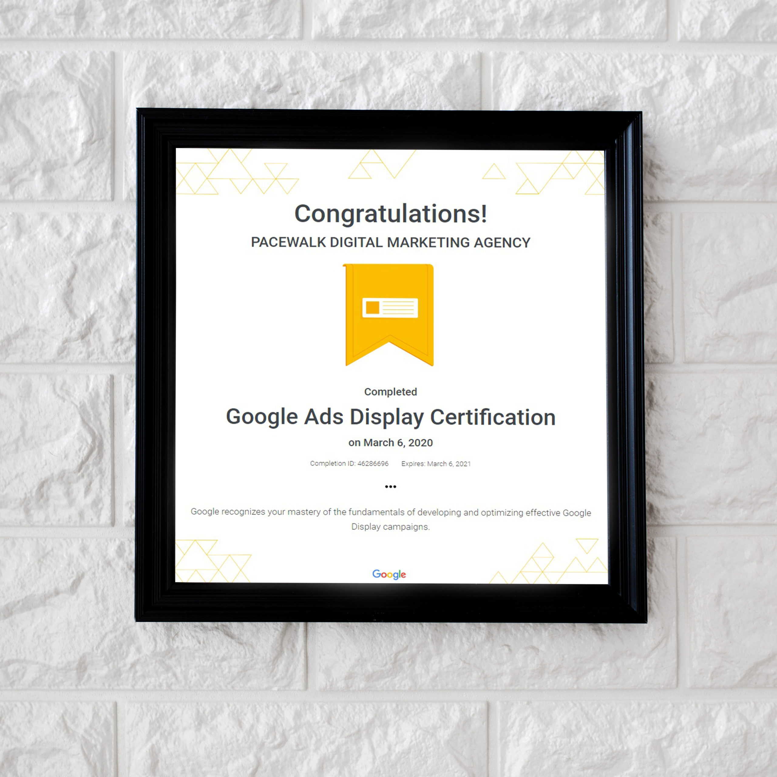 Google Certified Company Pacewalk